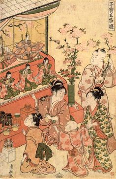 """From the Edo period Peach blossom was indispensable for doll decorations (enlarged picture of """"Children's Five Seasons Playground Champion"""" Torii Clan) Hina Matsuri, Hello Kitty Images, Japan Painting, Samurai, Peach Blossoms, Anime Comics, Woodblock Print, Traditional Art, Asian Art"""