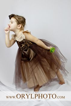 Wedding Flower Girl, Photoshot, Party Beautifu Natural Brown - Beige Dress with Flower and Bow. This listing is for sizes3-4-5. $56.00, via Etsy.