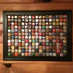 I would like to do this with my son's bottle cap collection.  Great game room or dorm room decor!