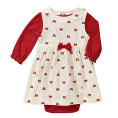 Carters Infant Girls Red & White Corduroy Christmas Jumper Holiday Bow Dress