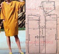 Платье прямого силуэта, на кокетке, с спущенной линией плеча и рукавами 3/4. #простыевыкройки #простыевещи #шитье #платье #свободныйкрой #выкройка
