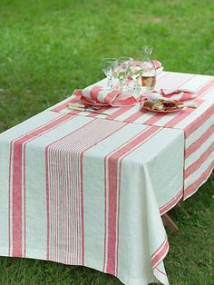 Merveilleux Off White Red Striped Linen Tablecloth By LinenbyInga On Etsy, $119.99