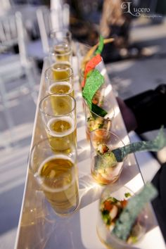 Ceviche and cerveza shooters for a fab wedding fiesta! Catering by Colette's Events. Shrimp Ceviche, Catering Menu, Wedding Catering, Catering Ideas, Wedding Appetizers, Great Appetizers, Low Country Boil, Bbq, Happy B Day