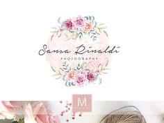 Floral Logo ,Romantic Logo, Watercolor Logo, Wedding Logo, Photography Logo, Boutique Logo ,Shabby Chic Logo, Watermark,Rustic Logo