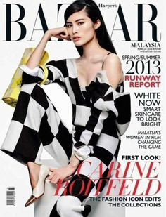 black and white color blocking, model Sui He - @Lisa Harper's Bazaar Malaysia March 2013 Cover