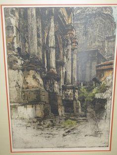 """Luigi Kasimir Estate Signed Etching -  """"Arch of Septimius Severus"""" Rome, Italy"""