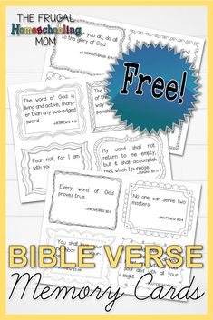 These FREE Bible verse memory cards for kids will help your children memorize scripture. Includes 12 favorite bible verses for kids. Learn The Bible, Bible Verses For Kids, Bible Study For Kids, Verses For Cards, Printable Bible Verses, How To Memorize Things, Curriculum, Homeschool, Middle School