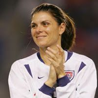 Scored this amazing goal against the USA in the World Cup in China.   Mia Hamm The most recognized female soccer player in the world, she broke the all-time international scoring record, for men and women, on May 16, 1999, against Brazil in Orlando, Fla. with her 108th career goal.