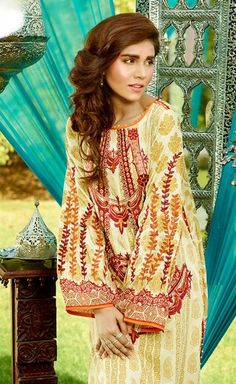 Shirt: Fabric: Embroidered Front with Sleeves, Printed Back. Shalwar/Trousers: Fabric: Printed Trouser.