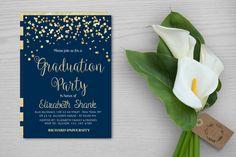 Gold Confetti Graduation Party Invitation,College Graduation Party…