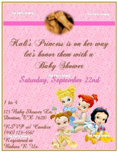 Disney Princess Baby Shower Invitation By ThePartySmarty On Etsy, $10.00