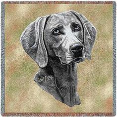 Weimaraner Dog Art Tapestry Lap Throw