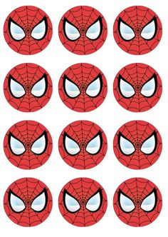 Spiderman Superhero Edible Cupcake Toppers by ChrisCakeArt on Etsy
