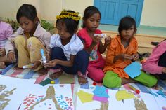 Art and Music Summer Camps. Torn Paper tree project. Son Tan, Vietnam, 2014.