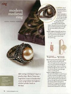 Gallery.ru / Фото #78 - Favorite Bead Stitches - svmur51 Beaded ring pattern with delica beads and a pearl