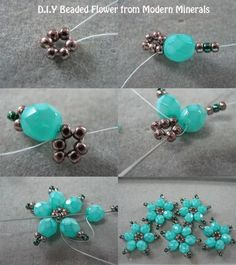 Beaded flowers. Can make these into a bracelet. Seed Bead Tutorials