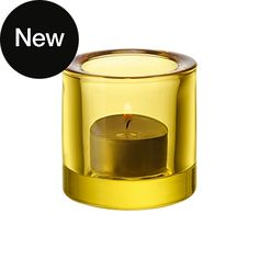 iittala glass 'Kivi' tea light holder in lemon