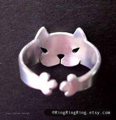 925 Регулируемая милый животных Wrap кольцо, кольцо Кот в твердой серебряное кольцо стерлингов ювелирных изделий (Matte или обуви)