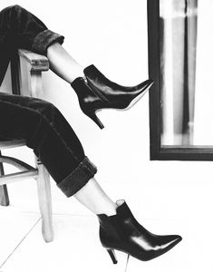 BLONDIE ANKLE BOOTIE Ankle Booties, Bootie Boots, Vegan Boots, Transitional Style, Blondies, Vegan Leather, High Heels, Booty, Black And White