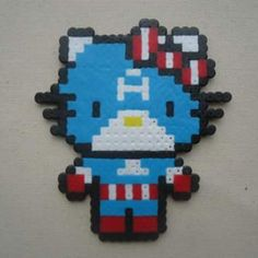 captain America Hello Kitty perler beads by Shasam Cosplay