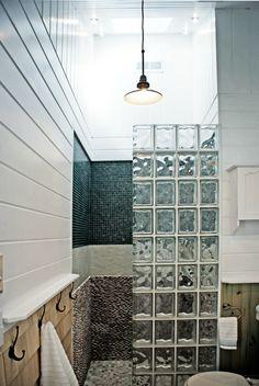 Agreeable painting a bathroom cabinet Cosy Bathroom, Glass Block Shower, Glass Blocks Wall, Glass Room, Bathroom Plans, Bathroom Design Small, Interior Inspiration, Sweet Home, House Design