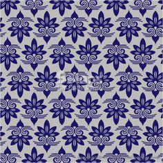 파란색 아시아 꽃 다마스크 패턴. 한국 전통문양 패턴디자인 시리즈. (BPTD020215) Blue Colors Asian flower…