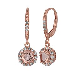 Simulated Morganite and Lab-Created White Sapphire 14k Rose Gold Over Silver Halo Drop Earrings, Women's, Pink