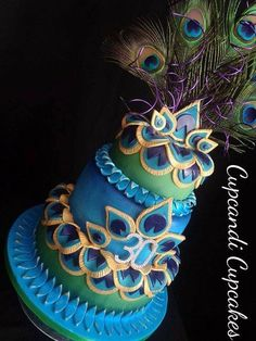 Peacock inspired cake - Cake by Cupcandi Cupcakes Peacock Cake, Peacock Wedding Cake, Peacock Purse, Unique Cakes, Creative Cakes, Gorgeous Cakes, Pretty Cakes, Amazing Wedding Cakes, Amazing Cakes