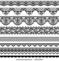 Set of black lace borders isolated on white - stock vector