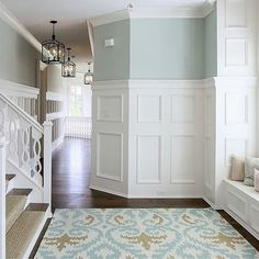 This is the look I'm going for in the kitchen/dining/living room remodel (see pic two back). I love how the space is traditional, clean and bright with pretty pops of blue and rich hardwood floors. By @artisansignaturehomes Think I can pull it off on a budget? #thecraftpatchblog #woodfloorlove #interiordesign #budgetdesign #inspiration #homeimprovement