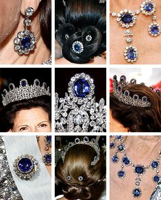 The Swedish Sapphire Parure, including the Leuchtenberg Sapphire Tiara Royal Crown Jewels, Royal Crowns, Royal Tiaras, Royal Jewelry, Tiaras And Crowns, Beaded Jewelry, Fine Jewelry, Diamond Tiara, Circlet