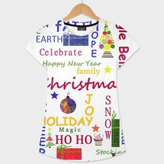 Discover «Christmas Message», Numbered Edition Women's All Over T-Shirt by Sartoris ART - From $39 - Curioos