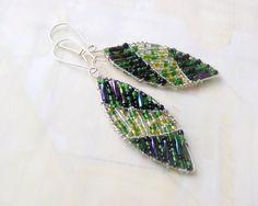 Leaf Earrings, opalizing leaves earrings, fall fashion earrings, nature inspired jewelry, woodland. $18.50, via Etsy.