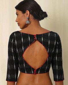 Buy Black Moksh Handwoven Ikat Cotton Blouse