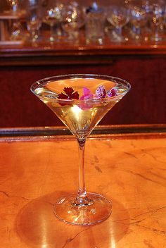 Left Bank Martini: St Germain Elderflower Liqueur and Bombay Sapphire meet in a nod to the bohemian district of Paris.