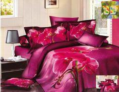 Amarantowa pościel z bawełniany z różową orchideą