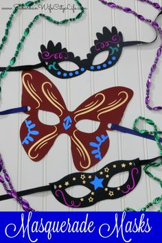 DIY Masquerade Masks for #MardiGras or a #MasqueradeBall are easy to make with a Cricut. #CricutMade #CricutMaker #Masquerade #MasqueradeMask #MardiGrasMask #DIYMask