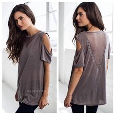 """NWT Cold Shoulder Mesh Inset Top in Mocha• S, M, L Beautiful loose fit top in light MochaV- Neck Mesh inset on front and deeper V on back""""Cold Shoulder"""" Open design on sleevesPairs beautifully with a pair of leggings and boots (or fun heels for a night out!)Available in sizes S, M, and L in my closet ✅Bundles are discounted!✅ No trades No PP Katana Couture Tops"""