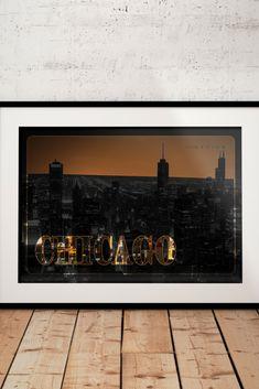 Chicago Skyline, Chicago Poster, Chicago Artwork, Chicago Wall Art, Chicago Cityscape, Chicago Print, Illinois Night Sky Print Travel Poster