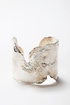 Broken reticulated silver cuff By Katell jewels