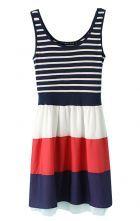 Navy Contrast Stripes Belt Back Tank Dress $32.13