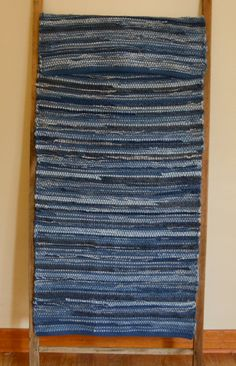 "Hand Woven Rag Rug - Denim Rug with Blue Hemmed Edge - 22"" x 52"" by StudioatRedTopRanch on Etsy"