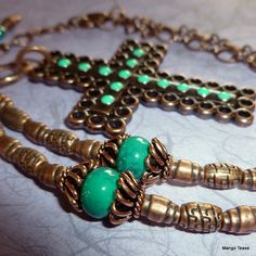Santa Fe Copper Cross Necklace  Turquoise Green by TahitiTime