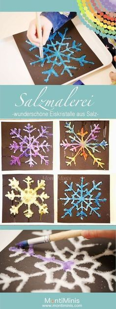 Salzmalerei – bunte Eiskristalle aus Salz Salt painting – colorful ice crystals made of salt Winter Crafts For Kids, Winter Kids, Winter Art, Diy For Kids, Diy Crafts To Do, Kids Crafts, Arts And Crafts, Salt Painting, Ice Crystals