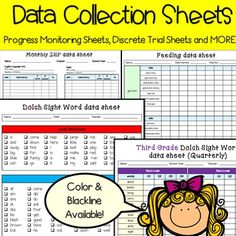 This is a MEGA BUNDLE of Data sheets, Discrete Trial Sheets, Progress monitoring, special education data forms and much MORE! There are both color versions and black and white versions. This pack incudes: Monthly IEP data collection sheetIEP meeting checklist formIEP at-a-glance formIEP data graphTEACCH tasks/work task data sheetSpelling data sheetWh-question data sheetSocial Skills data sheetReading fluency data sheetMultiple fluency timing data sheetReading fluency data sheetMaintenance…