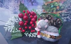 Your place to buy and sell all things handmade Last Christmas, Little Christmas, Christmas Tree Decorations, Christmas Wreaths, Holiday Decor, Felt Mouse, Santa Hat, Mice, Needle Felting