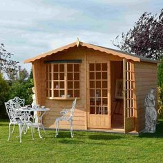 Sandringham Shiplap Summerhouse with felt roof tiles With assembly service Wooden Summer House, Corner Summer House, Summer Houses, Shiplap Cladding, Wooden Cladding, Felt Roof Tiles, Shed Base, Shed Floor