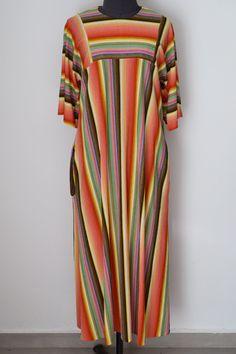 Vintage DUTCHESS Loungewear Multicolor Striped Long Dress, Hippie Boho, Size M by TheTreasureBoxOrna on Etsy