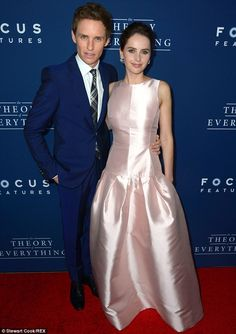 Blue and pink: Eddie Redmayne and Felicity Jones were a compliment to each other colour-wise at the LA premiere of their film The Theory Of Everything on Tuesday