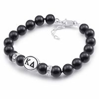 """Swarovski Pearls, Sterling Silver Beads, and Swarovski Crystals are combined to create our Kappa Delta bracelet. The Sorority bead is cast in solid sterling silver and hand finished to achieve maximum detail. The pearls are Swarovski pearls with a bright semi-gloss surface and the sterling crystal roundels are genuine Swarovski Crystal. Designed by sorority sisters for a fresh clean look. Made in the U.S.A.Metal: Sterling SilverBracelet Length: 7.25"""" with 1"""" extenderPearls: 8m"""
